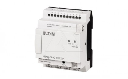 Программируемый логический контроллер EASY-E4-AC-12RCX1P, 100_240VAC/VDC, 8DI, 4RO, RTC, Ethernet, push-in